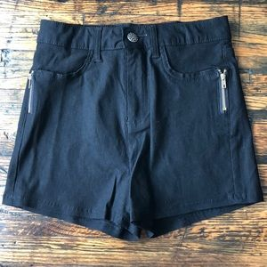 Black Stretch High Rise Jean Shorts